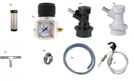 Fatpakke 16, 2 Nye Cornelius 19L, 2 tappemuligheter  CO2 regulator for Sodastream